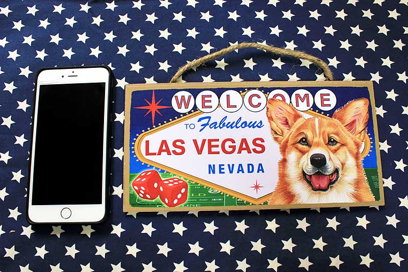 コーギー 雑貨 木製プレート 木製壁飾り ラスベガス コーギー グッズ アメリカ製 アメリカ直輸入品 ペット 犬 インテリア 雑貨