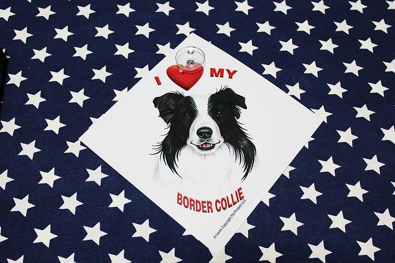 ボーダーコリー 雑貨 吸盤付きプレート I LOVE MY BORDER COLLIE プラスチックプレート ボーダーコリー グッズ 犬 DOG IN CAR 車 アメリカ直輸入品 ペット 雑貨
