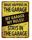 ガレージの中では俺が法律★MYGARAGEMYRULES・当店Sサイズ★アメリカンブリキ看板★アメリカン雑貨アメリカ雑貨サインプレートサインボードティンサインメタルプレートインテリアポスターブリキ看板