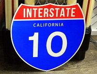【送料無料】カリフォルニア・10号線★カリフォルニア州・約46×46センチ★アメリカの高速道路の標識★トラフィックサイン★アメリカン雑貨アメリカ雑貨サインプレートサインボードメタルプレートガレージインテリアブリキ看板大型看板交通標識