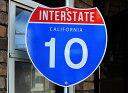 【送料無料】カリフォルニア・10号線★カリフォルニア州・約46×46センチ★アメリカの高速道路の標識★トラフィックサイン★アメリカン…