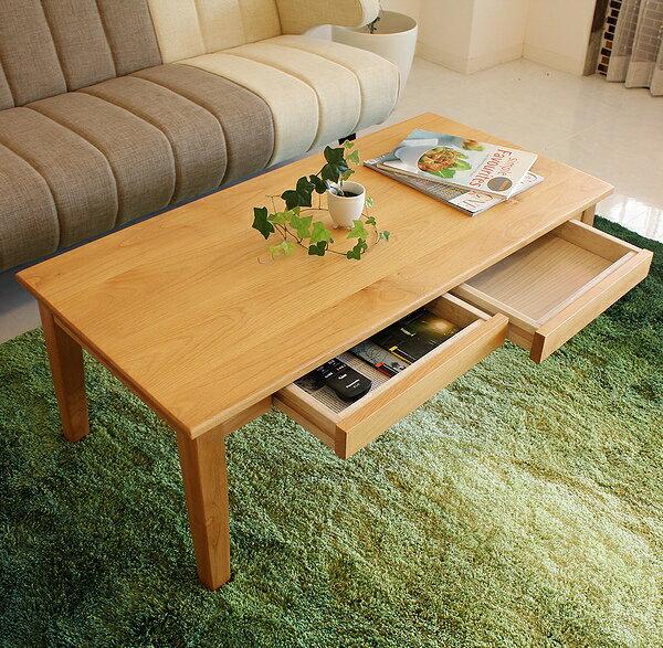 センターテーブル リビングテーブル フロアーテーブル 北欧 アルダー無垢 引出し付き 北欧 おしゃれ かわいい カフェ風の写真