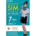 SIM�����ɥץ�ڥ��ɥʥ�SIMU-mobileSIM7���200MB/�����200MB/1��SIM�եU-mobileLTE4GLTEDocomosim������̵����NTT�ɥ���