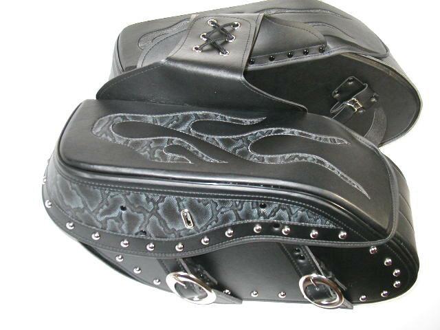 サドルバッグ ファイヤーパターン 黒 LLサイズ