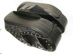 落ち着いたスネーク柄!雨に強い合皮製 32Lのビッグサイズサドルバッグ 黒スネーク柄 LLサイズ