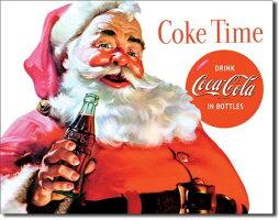 1046SantaCokeTime<br>Coca−Colaコカコーラコーク<br>サンタクリスマスアメリカン雑貨ブリキ看板TinSignティンサイン3枚以上で送料無料!