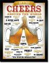1829Cheers Around the Worldビール チアーズ 乾杯アメリカン雑貨 ブリキ看板Tin Sign ティンサイン3枚以上で送料無料!