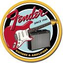 1858Fender Round G&Aフェンダー エレキ ギター アンプアメリカン雑貨 ブリキ看板Tin Sign ティンサイン3枚以上で送料無料!