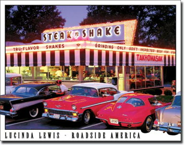 1478LUCINDA LEWIS Steak n Shakeアメリカン雑貨 ブリキ看板Tin Sign ティンサイン3枚以上で送料無料!