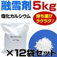 融雪剤 塩化カルシウム 5kg×12袋(合計60kg) お試しサイズ 小袋 こわけ 小分け 凍結防止剤 除雪 融氷 防塵剤 送料別【DC】 salt