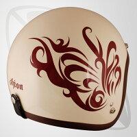 【SG規格認定】【全排気量OK】【フリー/LFサイズ】ジェット型ヘルメットパールアイボリー/ブラウン/BUTTERFLY(bjl-65dx)スモールジェットヘル