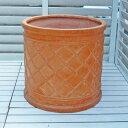 【軽くておシャレな植木鉢】 ウィンドシリンダーポット テラコッタ色 38cm ファイバークレイ アンティーク テラコッタ風 おしゃれ 園芸 ガーデニング グラスファイバー 鉢