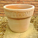 ウェルカムポット 36cm NC1012 WELCOMEな植木鉢大型 ヨーロピアンなテラコッタ 植木鉢 おしゃれ 陶器鉢 ベトナム鉢 素焼き鉢 園芸 ガーデニング プランター