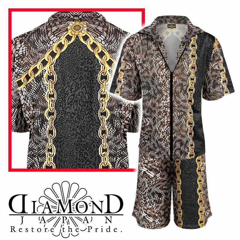 蛇総柄 切替 半袖セットアップジャージ 茶 服 ...の商品画像