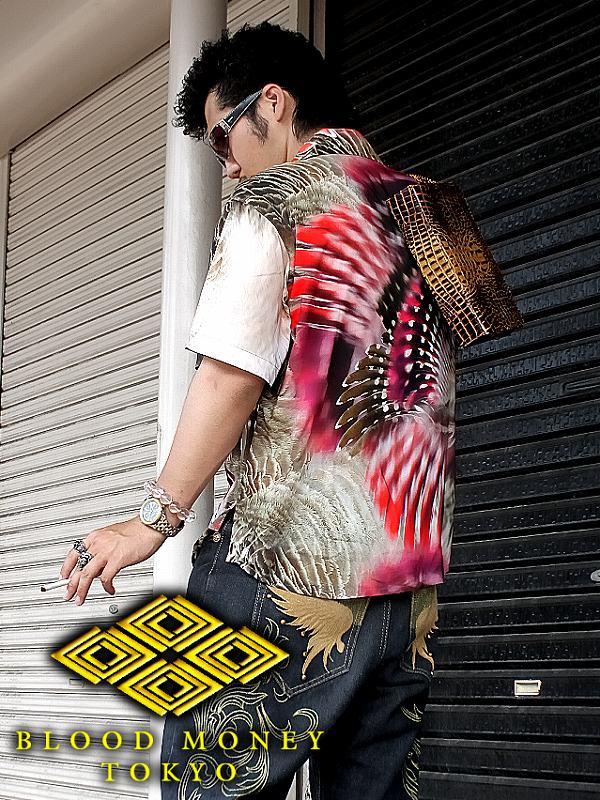 羽モチーフアロハシャツ 服 オラオラ系 悪羅悪羅系 ヤクザ ヤンキー チョイ悪 チョイワル 派手 メンズ ファッション