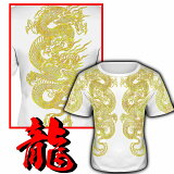 龍柄 半袖Tシャツ 白×金 和柄 服 オラオラ系 悪羅悪羅系 ヤクザ ヤンキー チョイ悪 チョイワル 派手 メンズ ファッション