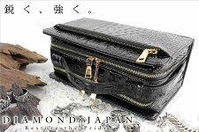 【61茶】悪羅悪羅系オラオラ系必需品!!牛革クロコ型押しセカンドバッグ/  鞄