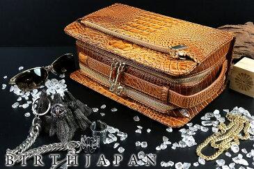 ツヤなしクロコ革PUセカンドバッグ 鞄 茶 オラオラ系 悪羅悪羅系 ヤクザ ヤンキー チョイ悪 チョイワル 派手 メンズ ファッション