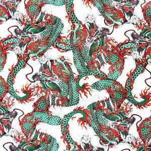 アロハシャツオラオラ系ヤクザヤンキーオラオラ悪羅悪羅dj-028白半袖シャツ夏物龍総柄和柄紳士Men'sメンズちょいワル悪羅悪羅系派手