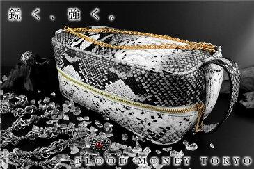 蛇革PUセカンドバッグ 鞄 グレー オラオラ系 悪羅悪羅系 ヤクザ ヤンキー チョイ悪 チョイワル 派手 メンズ ファッション