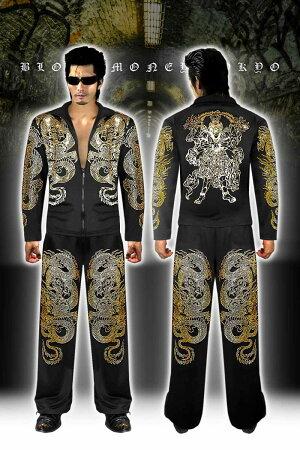 セットアップジャージヤクザヤンキー悪羅悪羅オラオラ系メンズ長袖上下大きいサイズ服mbt-16022和柄阿修羅龍悪羅悪羅系黒×金