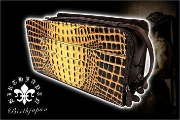 セカンドバッグ オラオラ系 ヤクザ ヤンキー メンズ ファッション 鞄 61茶 本革クロコ型押し 小物牛革 蛇パイソンヘビ ダブルファスナー ちょいワル 悪羅悪羅系
