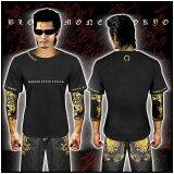 シンプルクロス半袖Tシャツ 黒×金 服 オラオラ系 悪羅悪羅系 ヤクザ ヤンキー チョイ悪 チョイワル 派手 メンズ ファッション