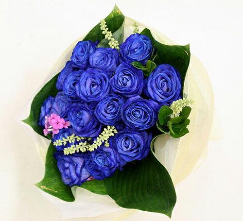 ブルーローズ 20本 短めブーケスタイル 青いバラ オランダ産高級