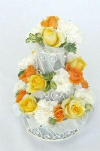 バルーンをお付けしてお届け可能なフラワーケーキです【フラワーケーキ】生花3段 ・W&Y 送料無...