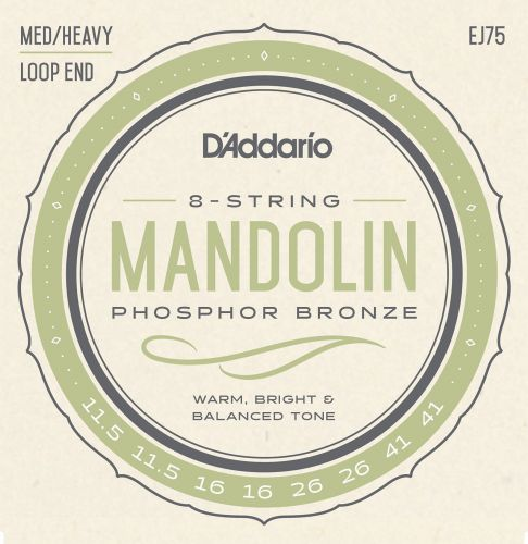 弦楽器, マンドリン DAddario EJ75 Mandolin Family Mandolin Strings, Phosphor Bronze, MediumHeavy, 11.5-41 4