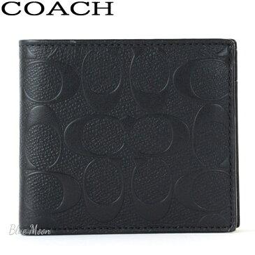 コーチ COACH 二つ折り財布 メンズ レザー ブラック F75363 BLK アウトレット