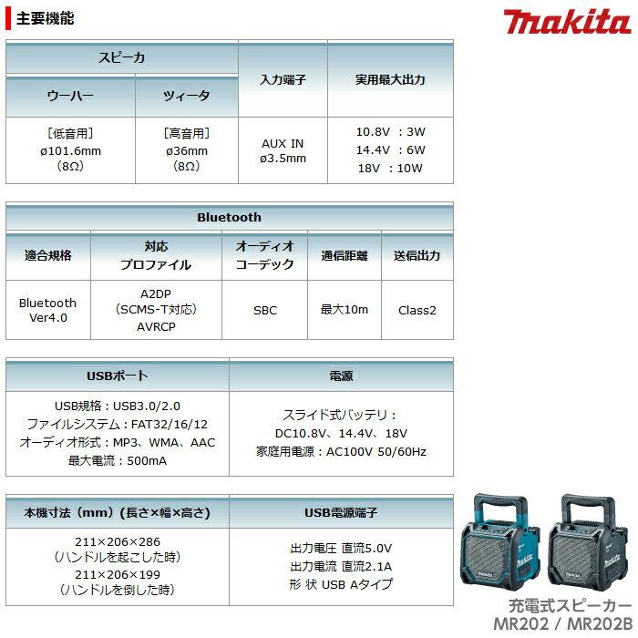 マキタ makita 充電式スピーカ 青 MR202 黒 MR202B
