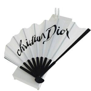 【中古】 レア 美品 クリスチャンディオール Christian Dior 扇子 ホワイト ブラック キャンバス 香水 ジャドール ミスディオール 06EQ756