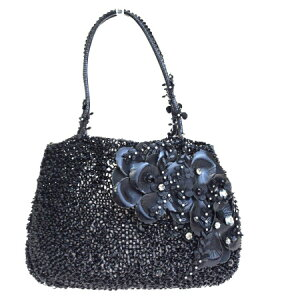 [Used] Medium beauty goods ANTEPRIMA wire shoulder bag hand tote rhinestone floral pattern black PVC leather 09HE558