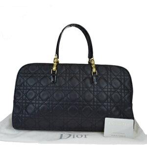 [使用]中型商品Christian Dior手提包Canage黑色皮革珐琅和收纳袋31EZ342