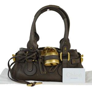 【中古】 中美品 クロエ Chloe パディントン ショルダーバッグ ハンド ブラウン レザー パドロック 保存袋付き 04MA304