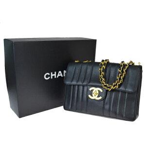 [Used] Good Condition Chanel CHANEL Mademoiselle Chain Shoulder Bag Coco Mark Caviar Skin Black Leather With Storage Box 372LA335
