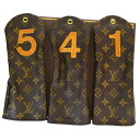 【中古】 3点セット 美品 ルイヴィトン LOUIS VUITTON ゴルフクラブ ヘッドカバー 1番 4番 5番 モノグラム レザー 33MB800