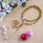 日蓮宗本式数珠*本連念珠◆星月菩提樹紅水晶仕立*八寸◆利休梵天房桐箱粗品付