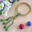 日蓮宗本式数珠*法華本連念珠◆ 星月菩提樹 印度翡翠仕立 八寸 ◆利休梵天房 桐箱付