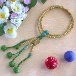 日蓮宗本式数珠*本連念珠◆星月菩提樹印度翡翠仕立*八寸◆利休梵天房桐箱粗品付