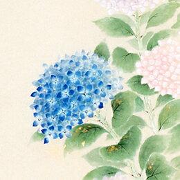 床の間掛軸【掛け軸 季節・夏】■ 紫陽花 ■佐藤桂三作*半切立
