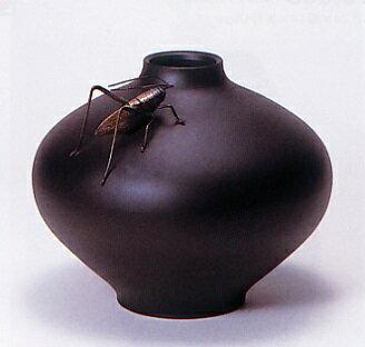 花器・花瓶■ 花器 瑞福型(コオロギ付) ■瑞峰作 青銅(ブロンズ)製 紙箱入り【高岡銅器】