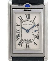 カルティエ時計タンクバスキュラントXLメンズ紳士用W1016055クロコストラップスモセコSSCartier腕時計レザー【】