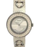グッチ腕時計レディースユープレイ時計Uプレイ129.5インターロッキング革ベルトホワイト白リザードレザーバンドGUCCIレディースウォッチ【中古】