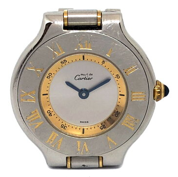 カルティエ 時計 マスト21 コンビ マストヴァンティアン レディース 1340 SS×GP 3連ブレス W10073R6 Cartier カルチェ 腕時計 時計 レディースウォッチ CARTIER 【中古】