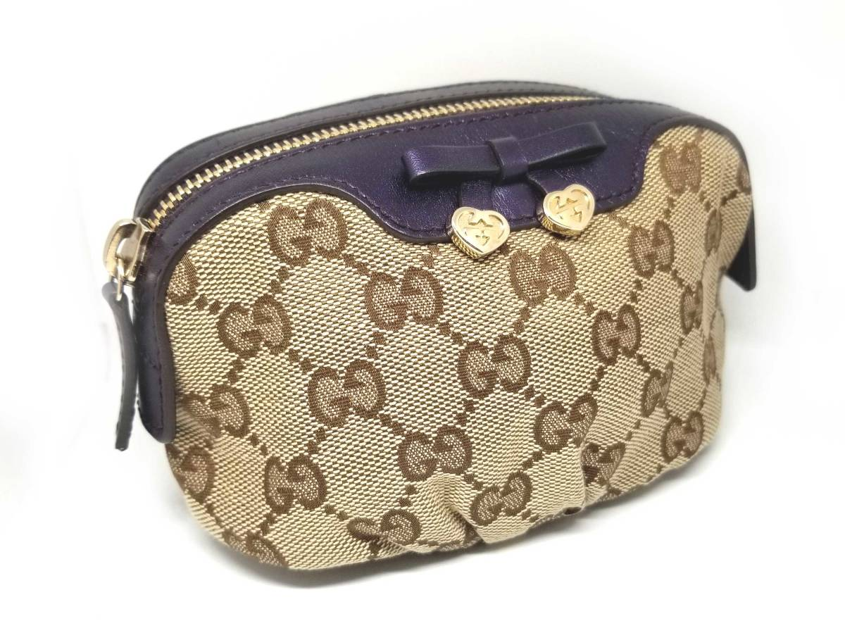 5006dd146d7 Image is loading Gucci-pouch-GG-canvas-candy-heart-beige-Kosumepochi-