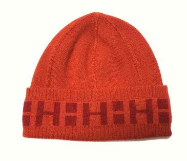 新品同様 エルメス 帽子 ニット帽 ニットキャップ Hロゴ カシミヤ製 オレンジ レッド 男女兼用 レディース メンズ HERMES 【中古】