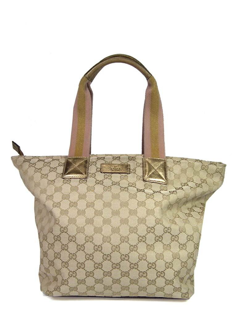 c798bd33047 Gucci tote bag GG canvas shoulder 131231 beige zipper trapezoid handbag Pat