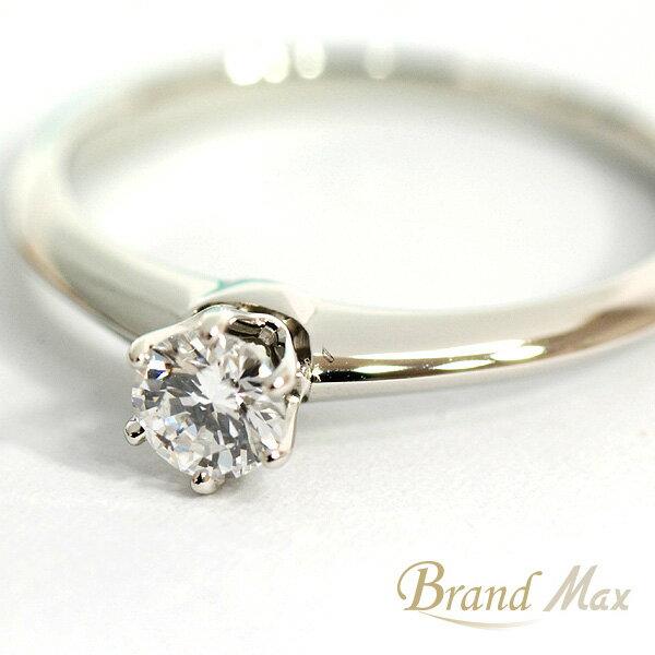 【BrandMax】ティファニー/PT950 ダイヤモンド立爪リング/10号/0.21ct/ダイヤ直径約 4mm【中古】【smtb-TD】【yokohama】:BrandMax